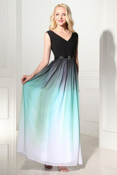 Ombre Chiffon Formal Dress,Robe De Soirée Longue,Long Evening Dress,Chiffon Prom Dress,MA097