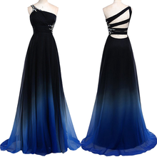 Ombre Chiffon Bridesmaid Dresses Long One Shoulder Bridesmaid Dresses MA098-Dolly Gown