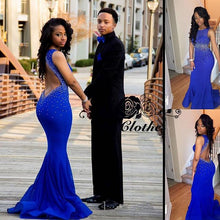Royal Blue Prom Dress For Curvy Girl Mermaid Black Girl Prom Dress Special Occasion Dress MA104