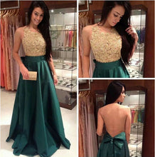 Green Prom Dress,Long Prom Dress, Prom Dress Gold Beading,Backless Prom Dress,Hipster Prom Dress,MA115