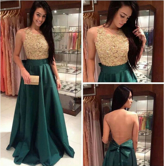 Green Prom Dress,Long Prom Dress, Prom Dress Gold Beading,Backless Prom Dress,Hipster Prom Dress,MA115-Dolly Gown