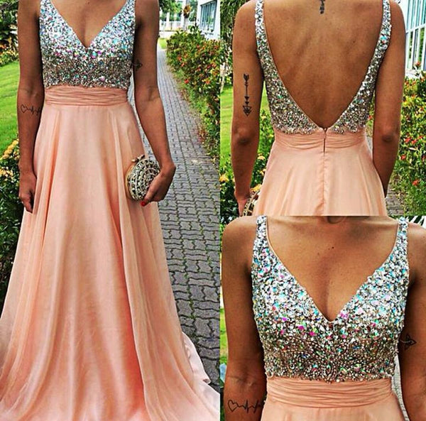 Pink Prom Dress,Sparkly Prom Dress,Long Prom Dress,Low Back Evening Dress,Formal Dress,MA116