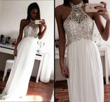 White Prom Dress,Long Formal Dress,Elegant Prom Dress,Sparkly Evening Dress,MA120