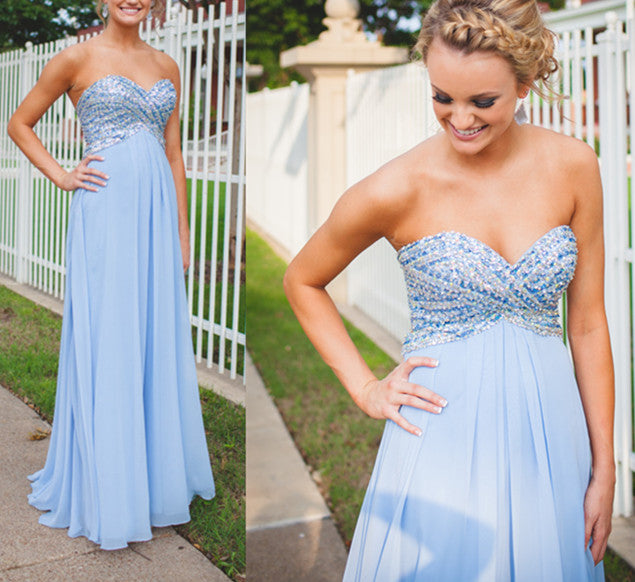 Long Prom Dress Light Blue Prom Dress Strapless Prom Dress Prom Dress For Teens MA129-Dolly Gown