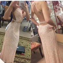 Champagne Backless Evening Dress,Sexy Prom Dress,Sequins Prom Dress,MA138
