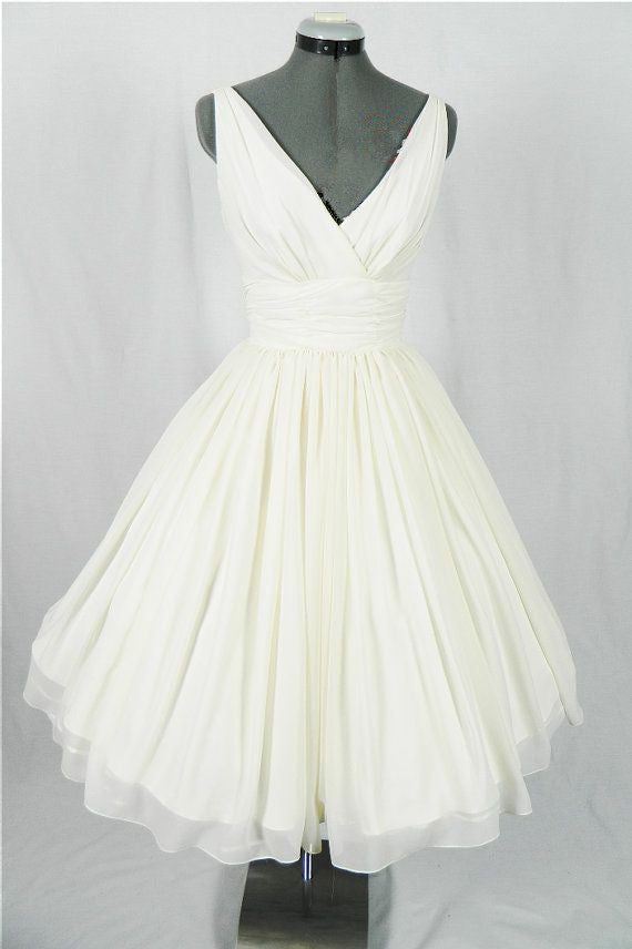 Pin Up Wedding Dress,Vintage Wedding Dress,50s Wedding Dress,Wedding Dress Tea Length,MA145