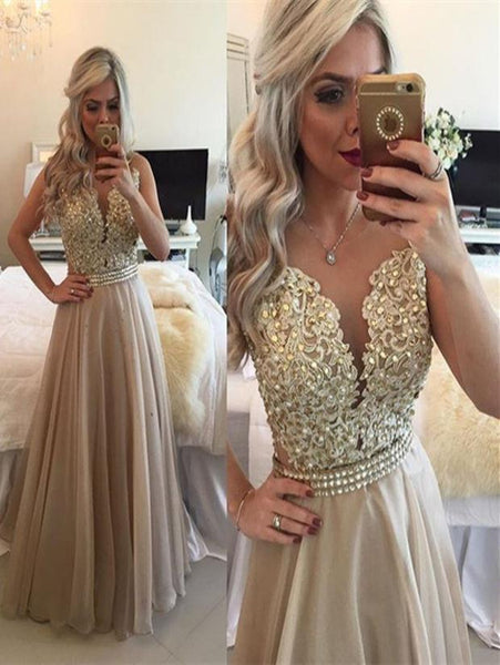 2017 Long Prom Dress,Lace Top Prom Gown,Elegant Prom Dress,Sweet 16 Dress,MA147