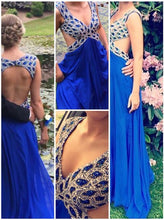 Royal Blue Evening Dress,Backless Prom Dress,Long Prom Dress,A line Party Dress,MA150