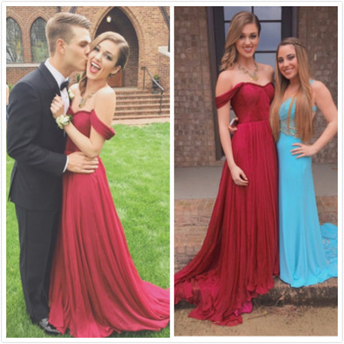 Red Prom Dress Off the Shoulder Prom Dress Pretty Graduation Dress Romantic Formal Dress,MA151-Dolly Gown