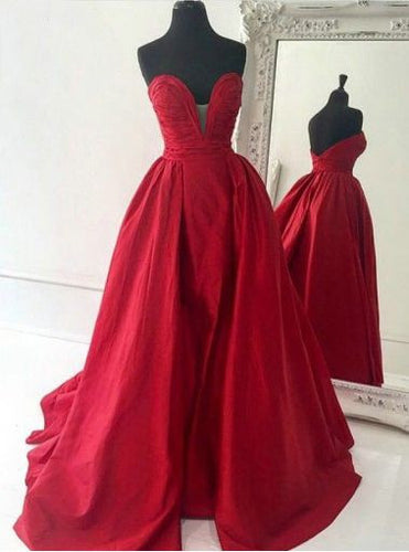 Deep V Prom Gown,Quinceanera Dresses,Red Prom Dress,Ball Gown Prom Dress,MA159