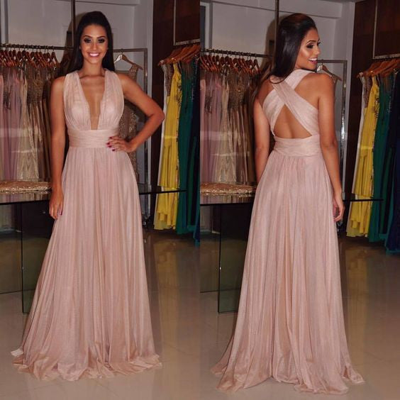 Deep V Prom Dress,Long Prom Dress,Cross Back Prom Dress,Chiffon Prom Dress,MA168