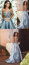 Dusty Blue Prom Dress,Unique Prom Dress,Backless Prom Dress,Spaghetti Straps Prom Dress,MA176-Dolly Gown