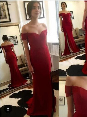 Long Prom Dress,Red Prom Dress,Off Shoulder Prom Dress,Red Wedding Dress,MA182-Dolly Gown