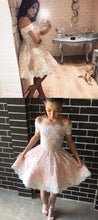 Short Prom Dress,Off Shoulders Prom Dress,Lace Prom Dress,Short Homecoming Dress,MA189