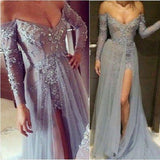 Dusty Blue Prom Dress,Prom Dress With Sleeves,Side Slit Prom Dress,Long Prom Dress,MA193