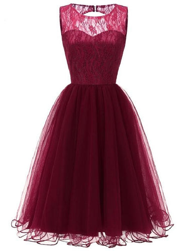 Maroon Retro Prom Dress Modest Lace Top Tulle Dress Short Homecoming Dress, 074B