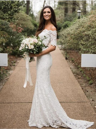 Mermaid Lace Off The Shoulder Two Piece Wedding Dress Affordable Bridal Separates online,20082557-Dolly Gown