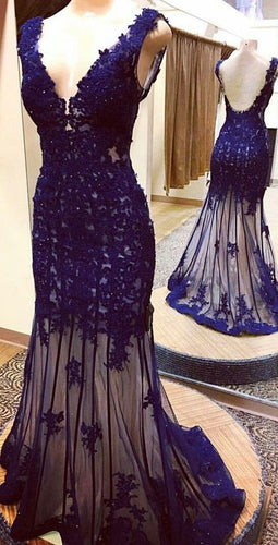 Mermaid Navy Blue Lace Appliques Tulle Long Prom Dress,20082006