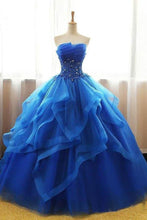 Mexican Organza Strapless Royal Blue Ball Gown Prom Dress Quinceanera Dress,GDC1158-Dolly Gown