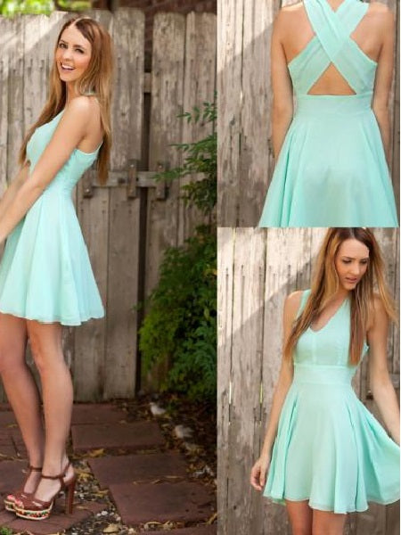 Mint Bridesmaid Dresses Summer Short Bridesmaid Dresses Robe De Demoiselle D'Honneur Courte Fs014-Dolly Gown