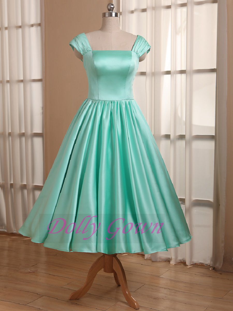 Mint Green Tea Length 50s Style Bridesmaid Dress Vintage bridesmaid dresses under 100-Dolly Gown
