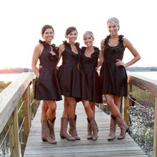 Taffeta Brown Halter Ruffles Neck Short Bridesmaid Dresses with Pockets/Cowboy Boots,GDC1505