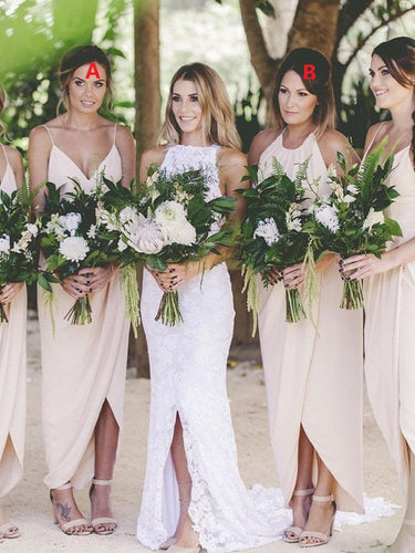 Mixed Boho Beach Summer Bridesmaid Dresses Beige Bridesmaid Dresses FS085-Dolly Gown