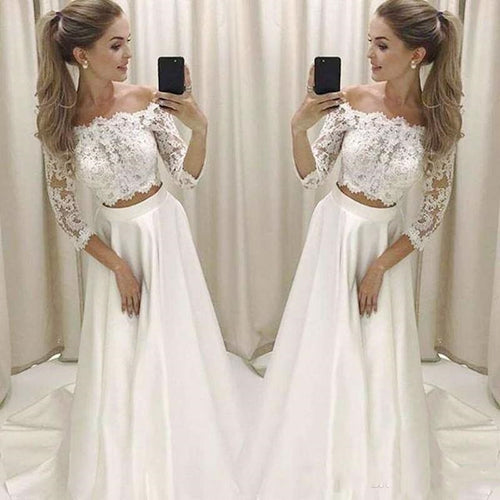 Modern Off the Shoulder Long Sleeve Crop Top Wedding Dress,Affordable Bridal Separates,20082670-Dolly Gown