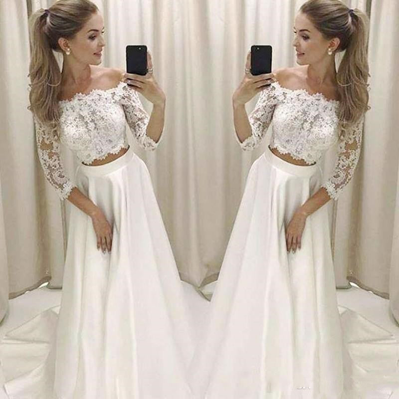 Modern Off the Shoulder Long Sleeve Crop Top Wedding Dress,Affordable Bridal Separates,20082670