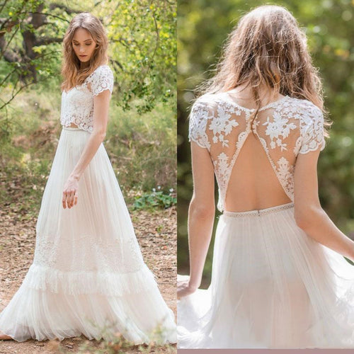 Modern Romantic Two Piece Lace Wedding Dress with Open Back,20082696