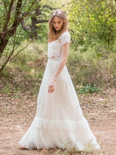 Modern Romantic Two Piece Lace Wedding Dress with Open Back,20082696-Dolly Gown