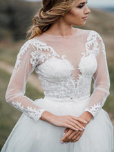 Modern Rustic Long Sleeve Lace Crop Top Wedding Dress Bridal Separates with Tulle Skirt 20082674-Dolly Gown