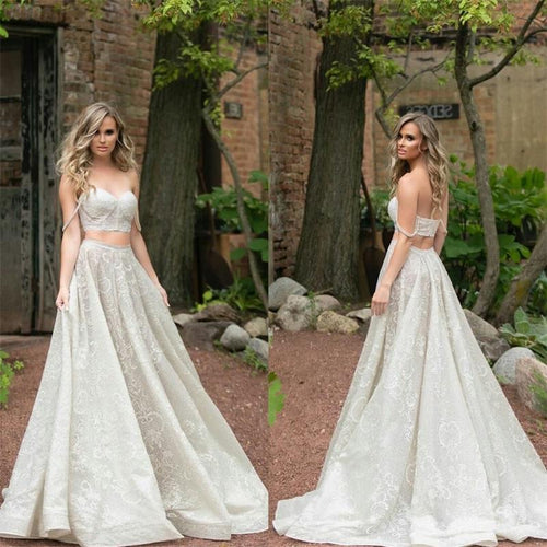 Modern Trendy Spaghetti Strapes Crop Top Wedding Dress,A-line Affordable lace Bridal Separates,20082672