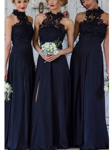 Modest Halter Lace Top A-Line Dark Blue Bridesmaid Dresses Long with Side Slit,#711067-Dolly Gown