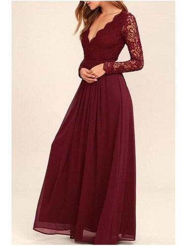 Modest Burgundy Lace Open Back Prom Dress Bridesmaid Dresses With Sleeves,GDC1082-Dolly Gown