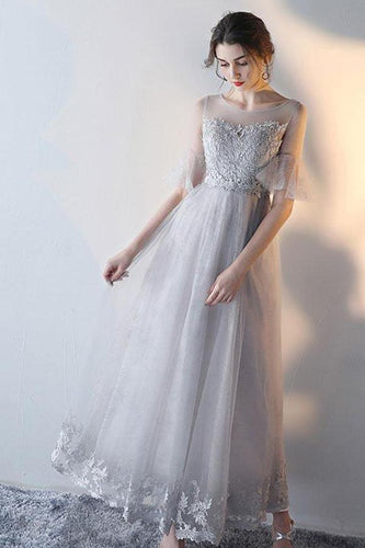 Modest Flowy Tulle Gray Romantic Prom Dress with Lace Appliques Top,GDC1229
