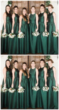 Modest High Neck Emerald Green Bridesmaid Dresses,Long Fall Bridesmaid Dresses,GDC1043