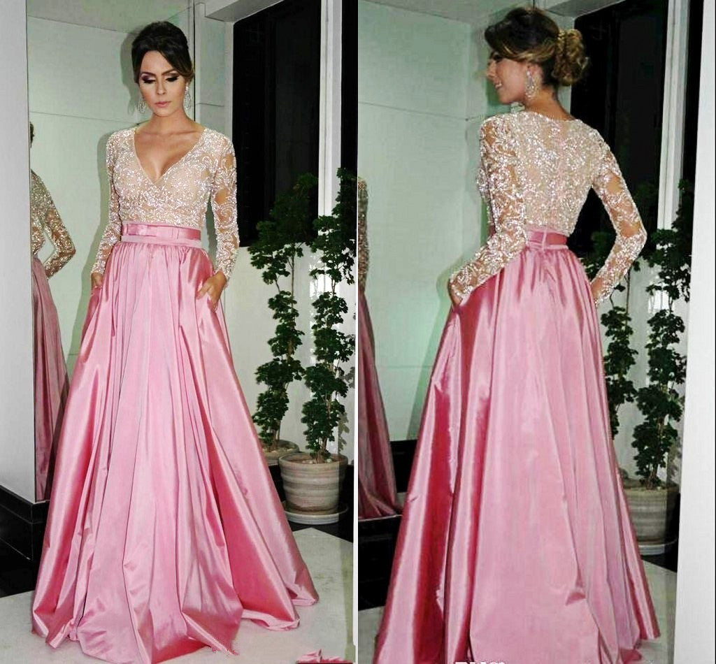 Modest Pink See Through Long Prom Dress with Sleeves,GDC1193