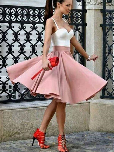 Modest White/Pink Short Homecoming Dress Short Prom Dress GDC1300