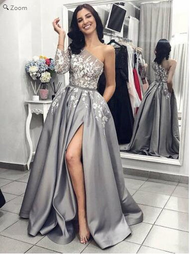 Most Popular One Shoulder Sleeves Slit Floral Lace Grey Formal Prom Dress with Pockets ,GDC1105