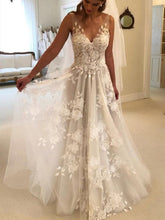 Most Popular Romantic V-neck Floral A-line Lace Wedding Dress,GDC1028-Dolly Gown