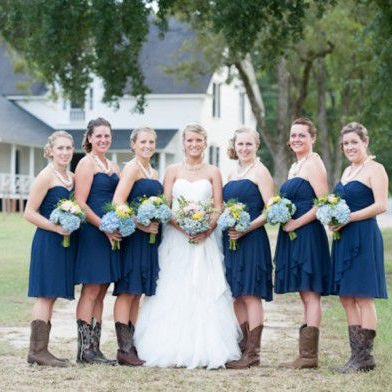 Navy Blue Country Style Strapless Chiffon Ruched Bridesmaid Dress with Boots,20081806