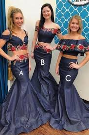Navy Blue Mismatched Two Piece Long Mermaid Bridesmaid Dresses,20081812