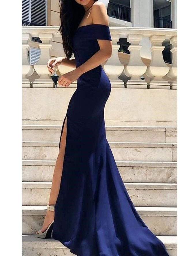 Navy Blue Stunning Off the Shoulder Bodycon Prom Dress with Slit,20081616-Dolly Gown