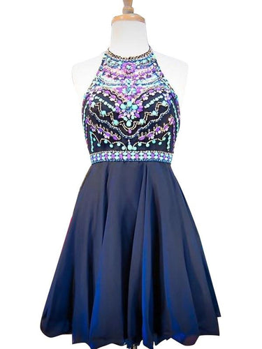 Navy Blue Homecoming Dress Short Prom Dress for Teens Beaded Prom Dress MA033-Dolly Gown