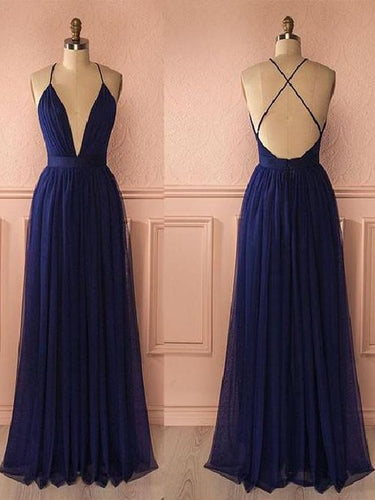Navy Blue Flowy Tulle Long Plunge V neck Prom Dress Senior Graduation Formal Wear,GDC1171-Dolly Gown
