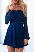 Navy Blue Lace Off Shoulders Short Prom Dress with Sleeves,Semi Formal Lace Dress,GDC1304
