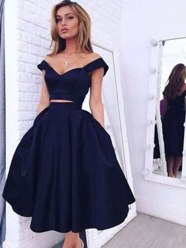 Navy Blue Short Two Piece Prom Dress Off Shoulder Simple Homecoming Dress for Freshman 20171202