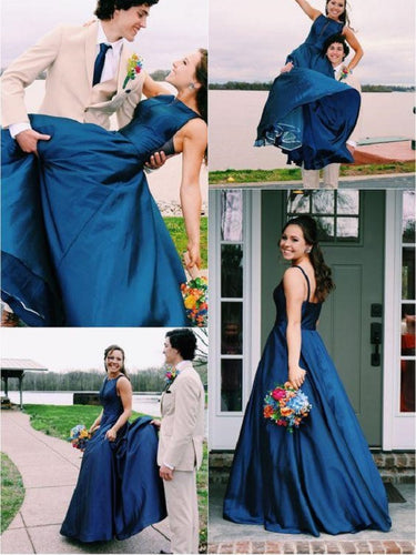 New Arrival Bateau Neck  Navy Blue Long Prom 8th Grade Formal Dress,20101605