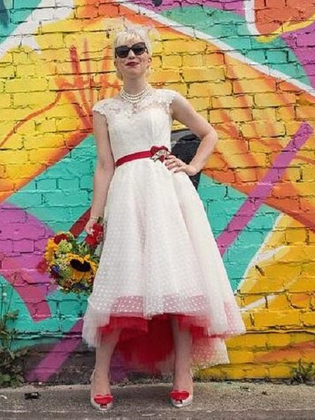 New Arrival Polka Dot Lace Appliques Tea Length Rustic Country Wedding Dress,20101616-Dolly Gown